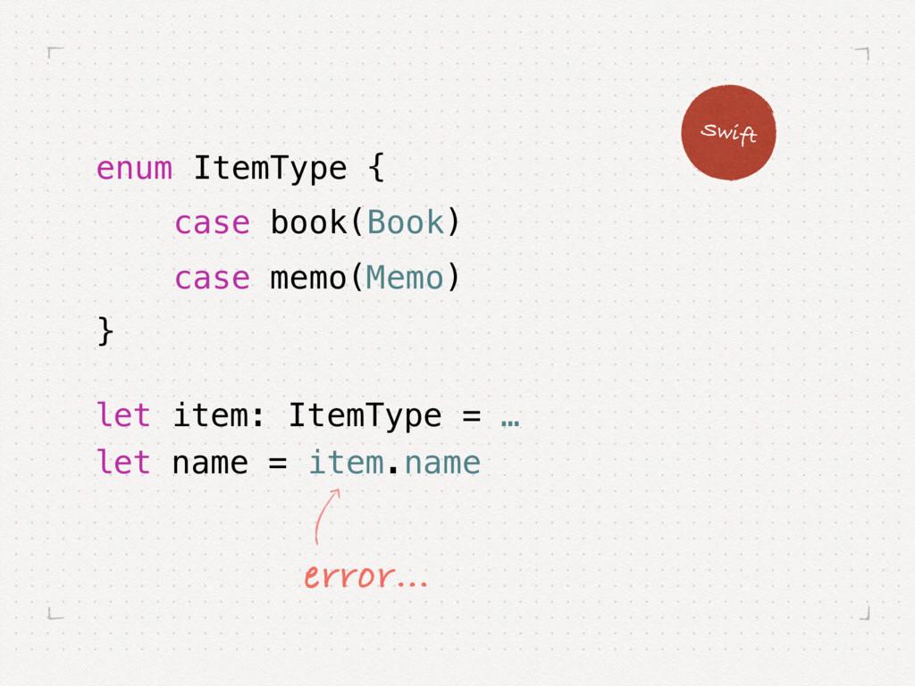 let item: ItemType = … let name = item.name Swi...