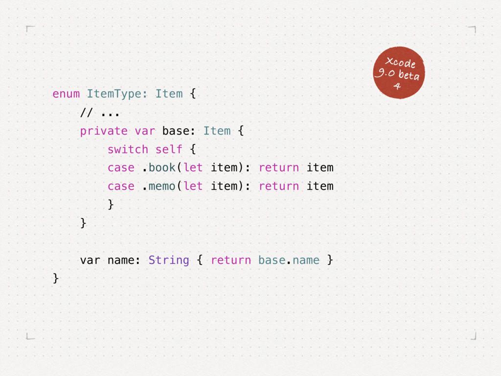 enum ItemType: Item { // ... private var base: ...