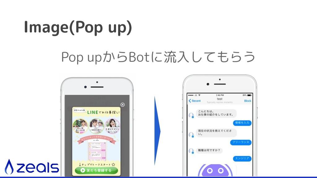 Image(Pop up) Pop upからBotに流入してもらう