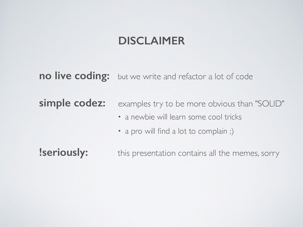 DISCLAIMER no live coding: but we write and ref...