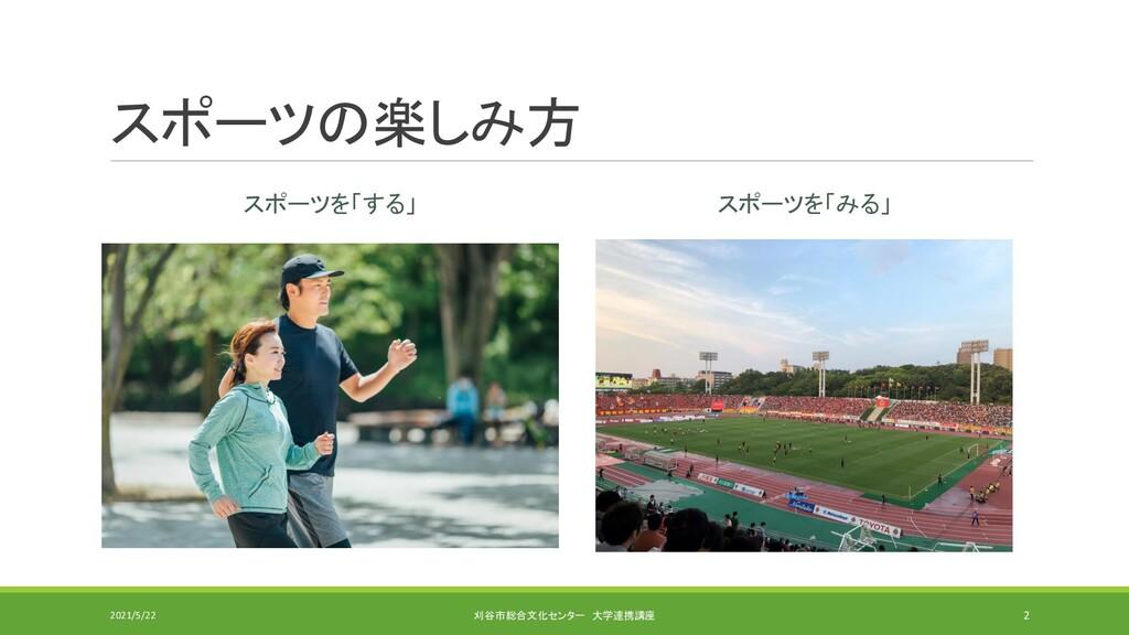 スポーツの楽しみ方 スポーツを「する」 スポーツを「みる」 2021/5/22 刈谷市総合文化...