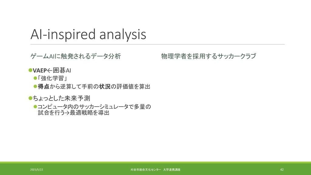 AI-inspired analysis ゲームAIに触発されるデータ分析 ⚫VAEP←囲碁A...