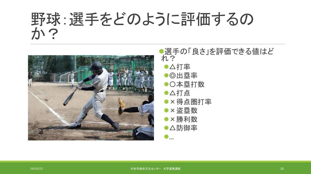 野球:選手をどのように評価するの か? ⚫選手の「良さ」を評価できる値はど れ? ⚫△打率 ⚫...