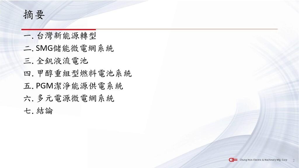摘要 一.台灣新能源轉型 二.SMG儲能微電網系統 三.全釩液流電池 四.甲醇重組型燃料電池系...