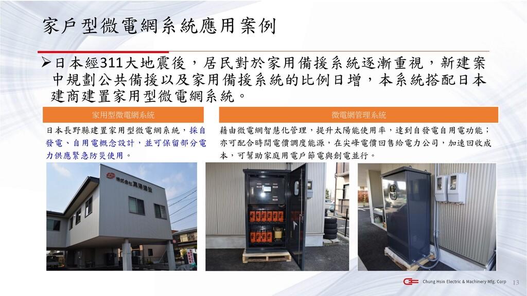 家戶型微電網系統應用案例 ➢日本經311大地震後,居民對於家用備援系統逐漸重視,新建案 中規劃...