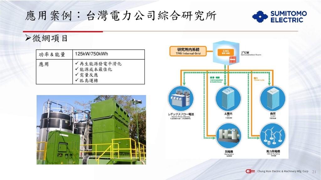 應用案例:台灣電力公司綜合研究所 ➢微網項目 21 功率 & 能量 125kW/750kWh ...