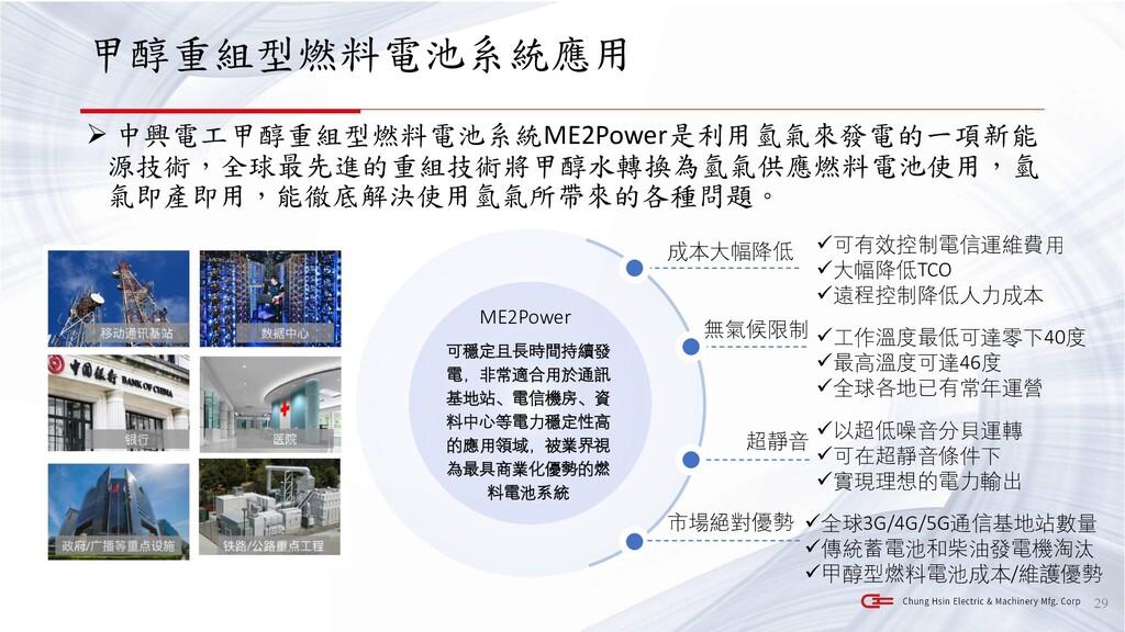 甲醇重組型燃料電池系統應用 ➢ 中興電工甲醇重組型燃料電池系統ME2Power是利用氫氣來發電...