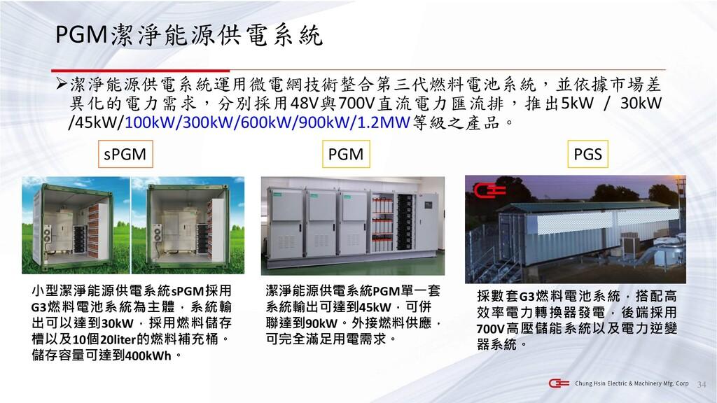 PGM潔淨能源供電系統 ➢潔淨能源供電系統運用微電網技術整合第三代燃料電池系統,並依據市場差 ...