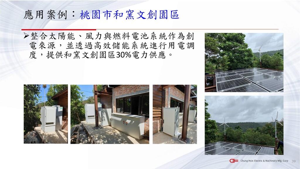 應用案例:桃園市和窯文創園區 ➢整合太陽能、風力與燃料電池系統作為創 電來源,並透過高效儲能系...