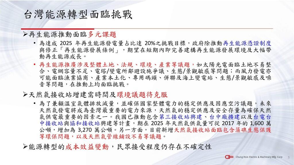 台灣能源轉型面臨挑戰 ➢再生能源推動面臨多元課題 • 為達成 2025 年再生能源發電量占比達...