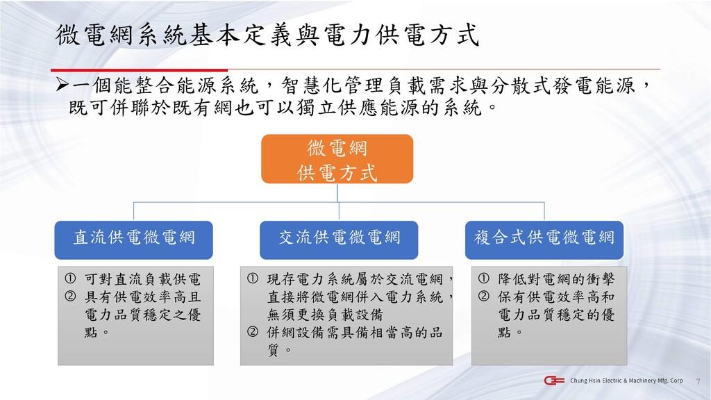 微電網系統基本定義與電力供電方式 ➢一個能整合能源系統,智慧化管理負載需求與分散式發電能源, ...