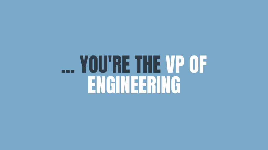 ... YOU'RE THE VP OF ENGINEERING