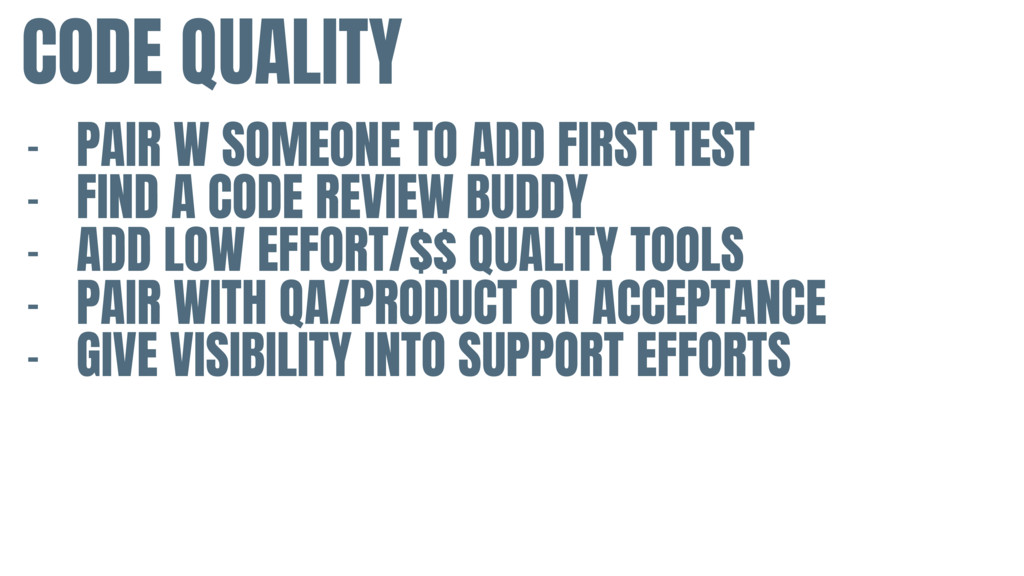 CODE QUALITY - PAIR W SOMEONE TO ADD FIRST TEST...