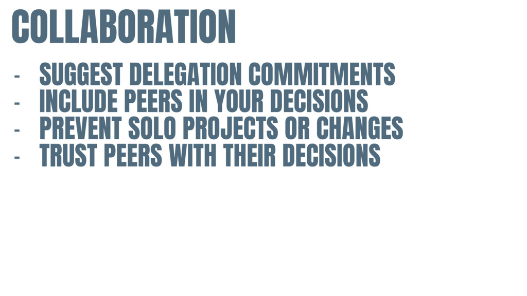 COLLABORATION - SUGGEST DELEGATION COMMITMENTS ...