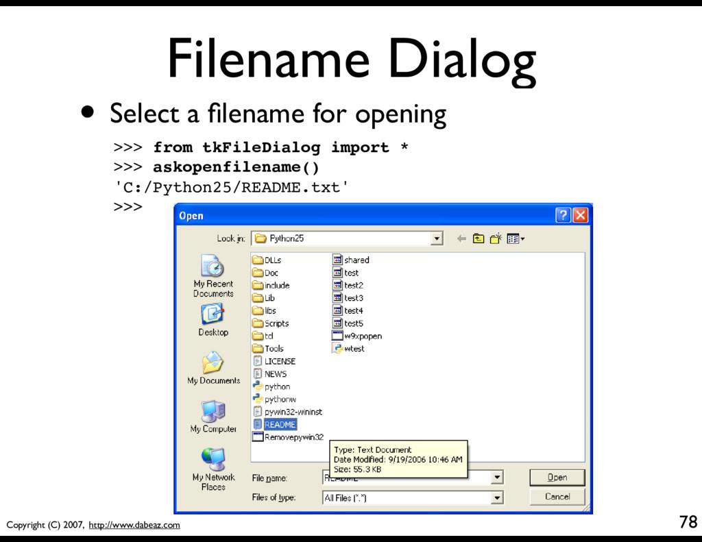Copyright (C) 2007, http://www.dabeaz.com Filen...