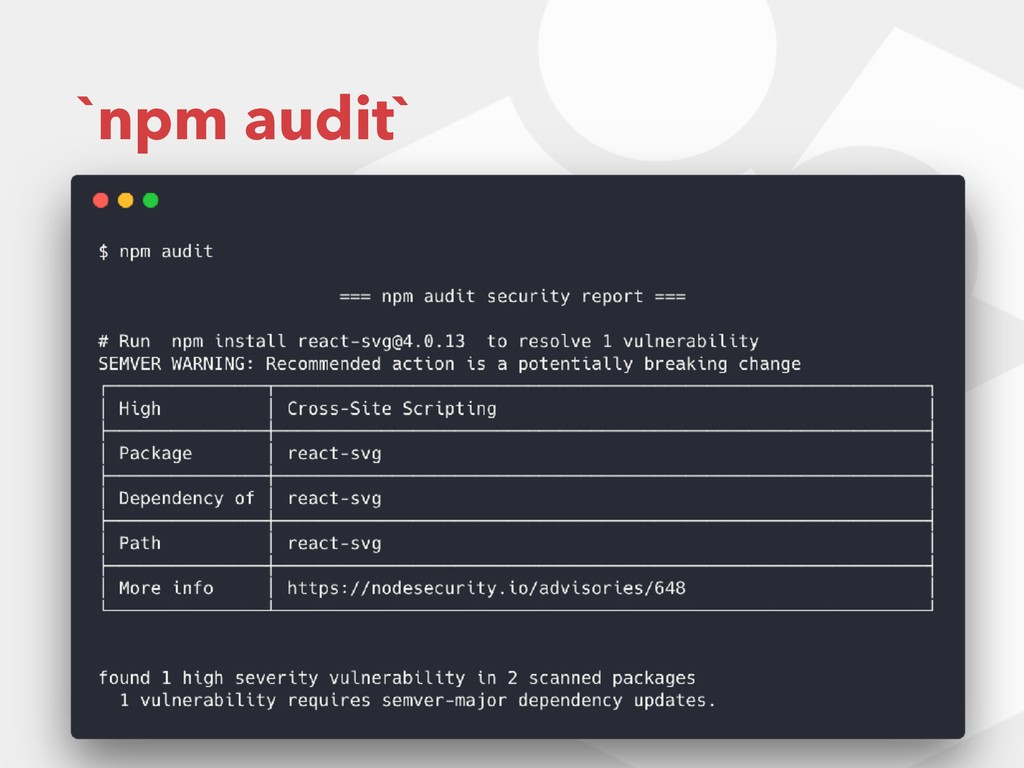 `npm audit`