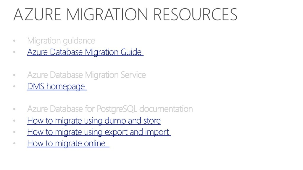 AZURE MIGRATION RESOURCES Azure Database Migrat...