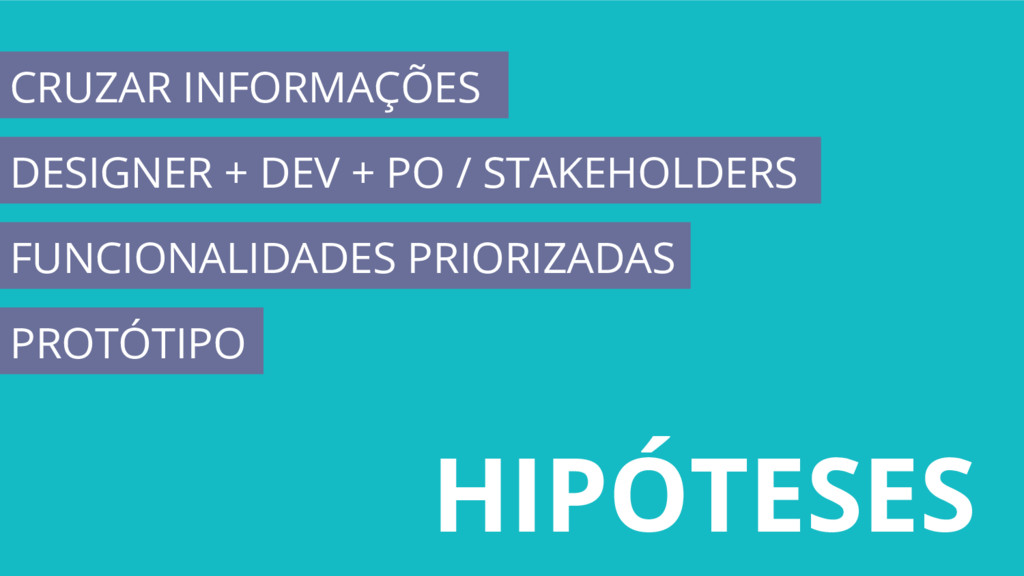 HIPÓTESES CRUZAR INFORMAÇÕES DESIGNER + DEV + P...