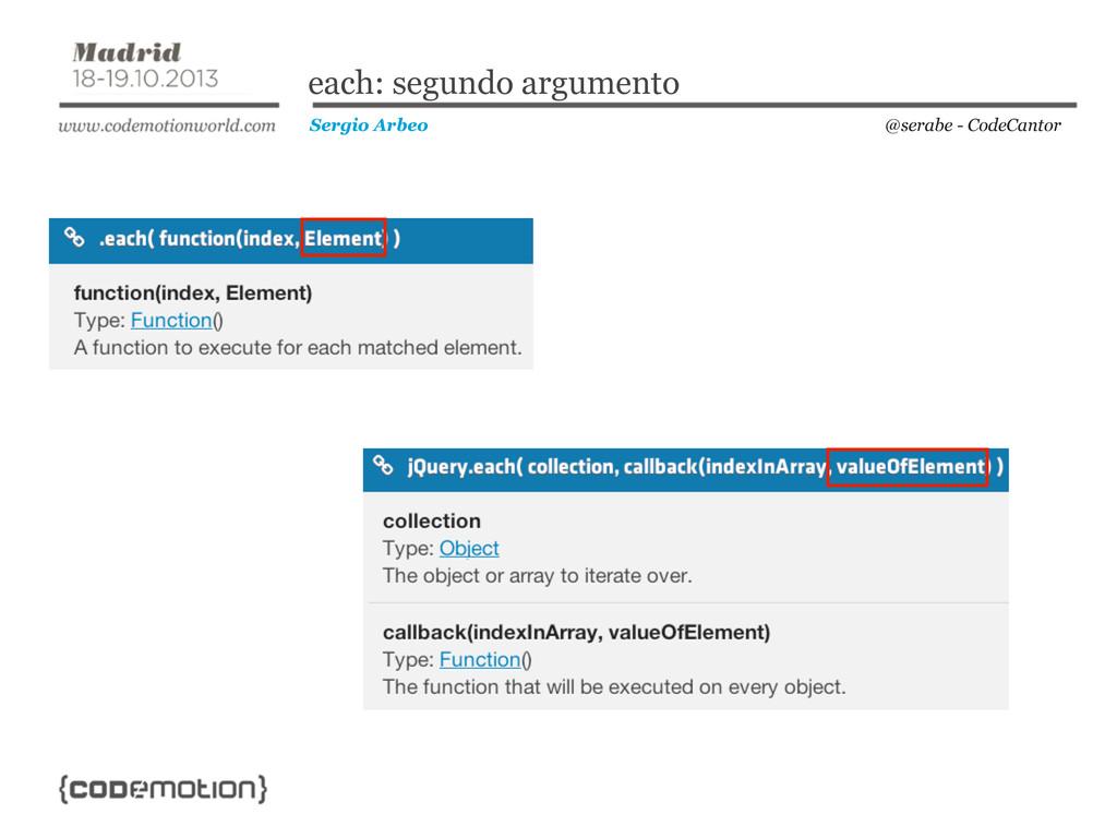 @serabe - CodeCantor Sergio Arbeo each: segundo...