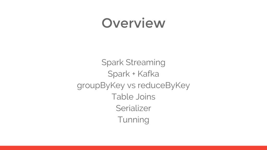 Overview Spark Streaming Spark + Kafka groupByK...