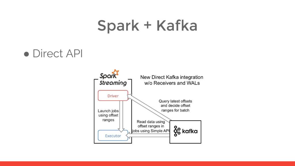 Spark + Kafka ● Direct API