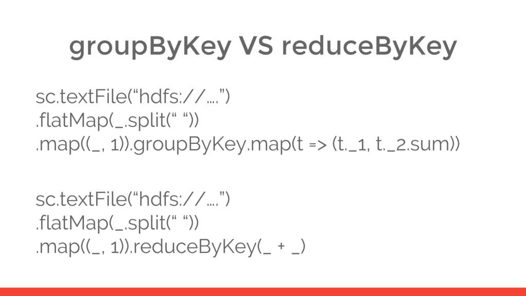 "groupByKey VS reduceByKey sc.textFile(""hdfs://…..."