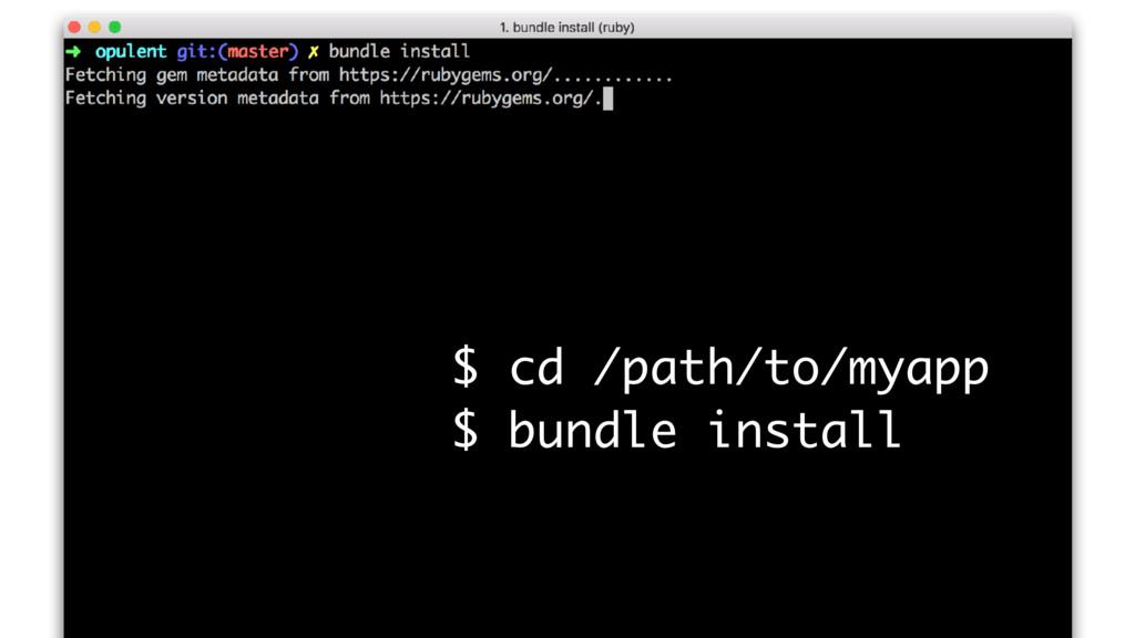 $ cd /path/to/myapp $ bundle install