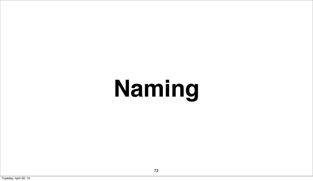 Naming 72 Tuesday, April 22, 14