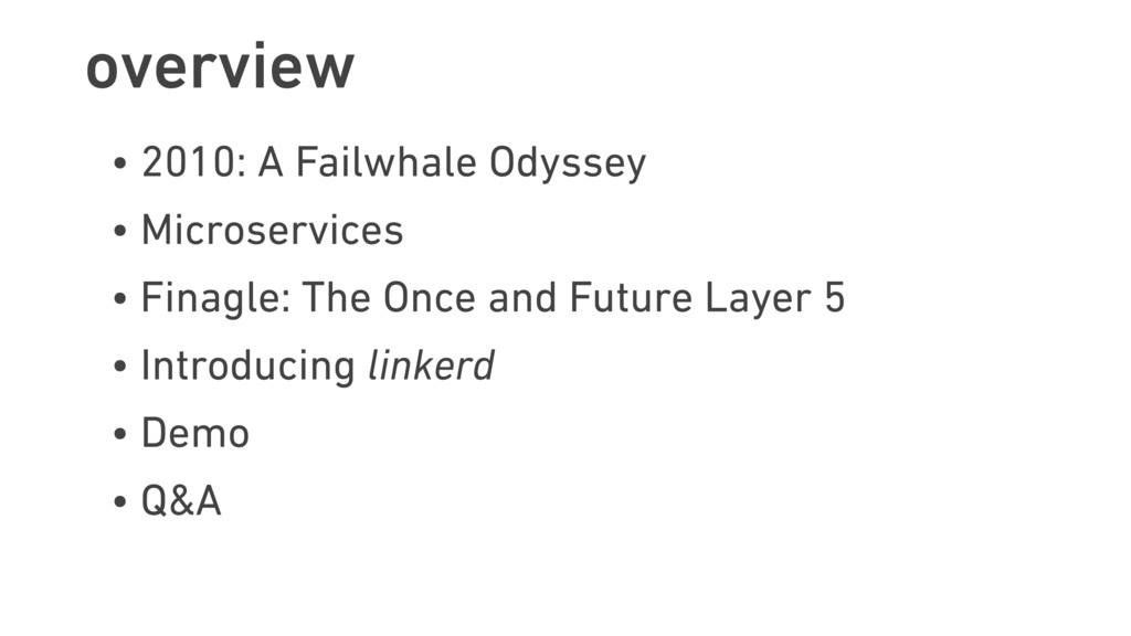 overview • 2010: A Failwhale Odyssey • Microser...