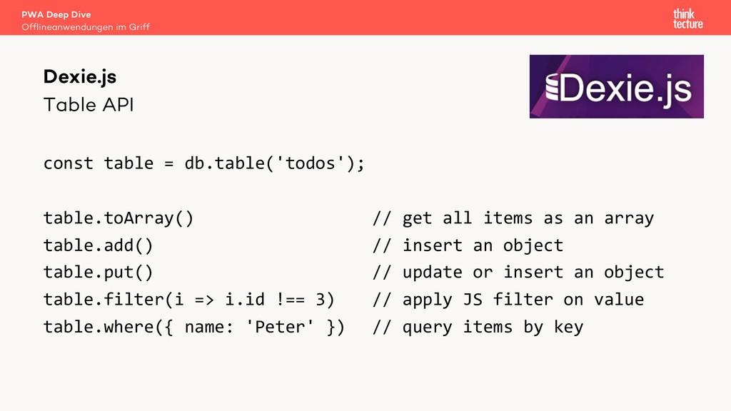 Table API const table = db.table('todos'); tabl...