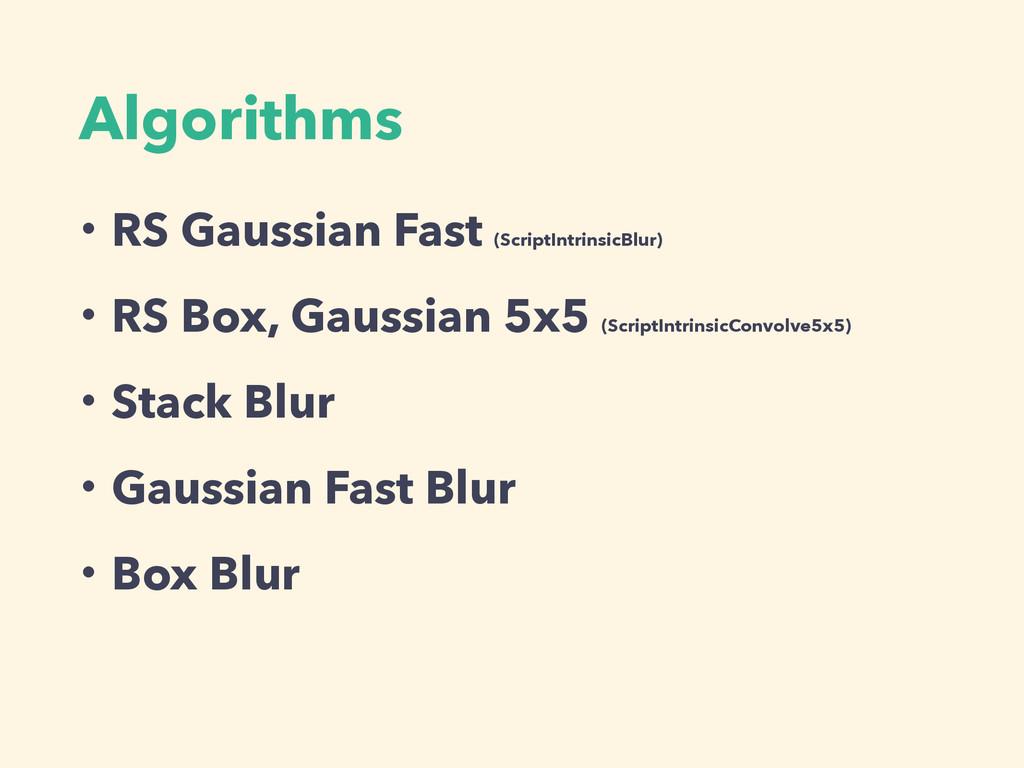 Algorithms ɾRS Gaussian Fast (ScriptIntrinsicBl...