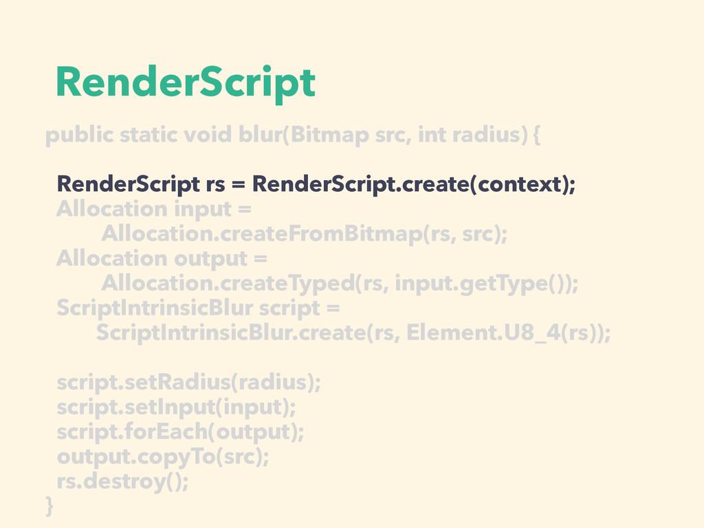 RenderScript public static void blur(Bitmap src...