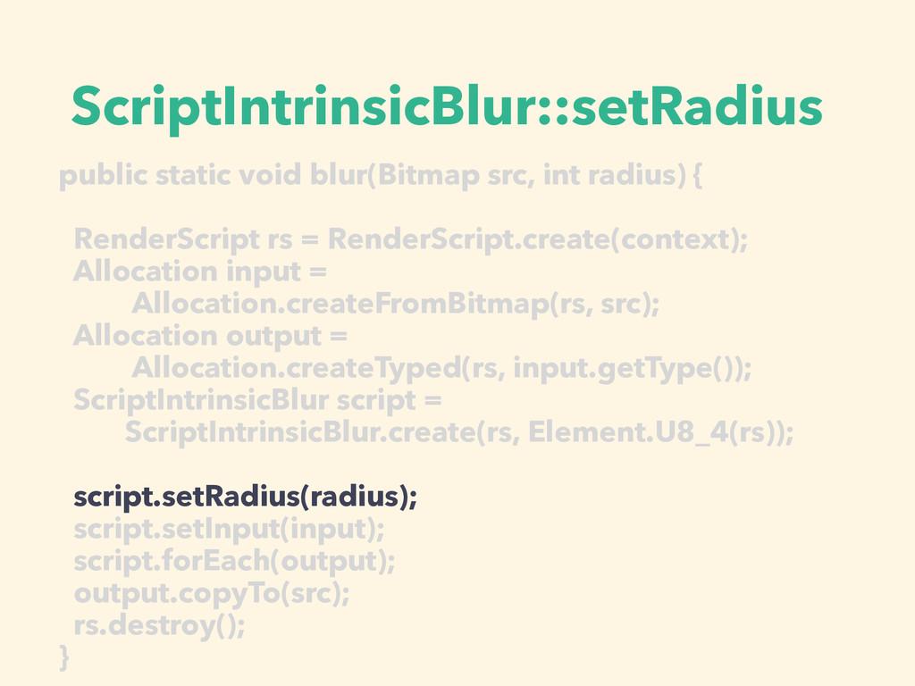 ScriptIntrinsicBlur::setRadius public static vo...