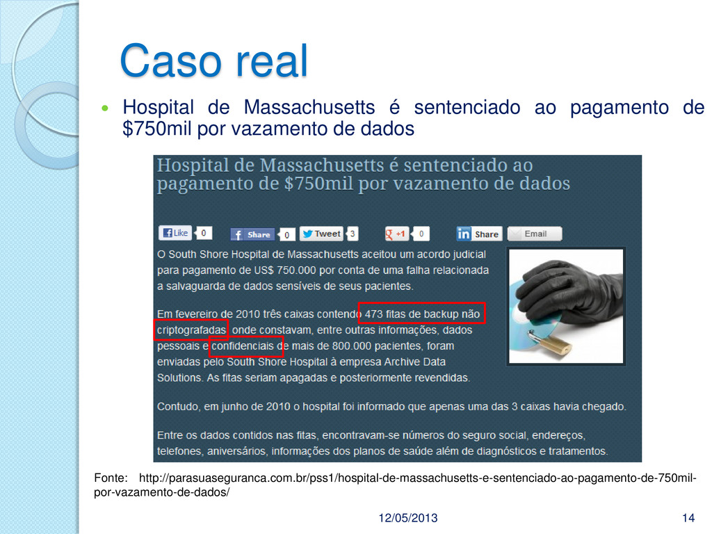 Caso real 12/05/2013 14  Hospital de Massachus...