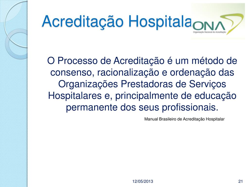 Acreditação Hospitalar 12/05/2013 21 O Processo...