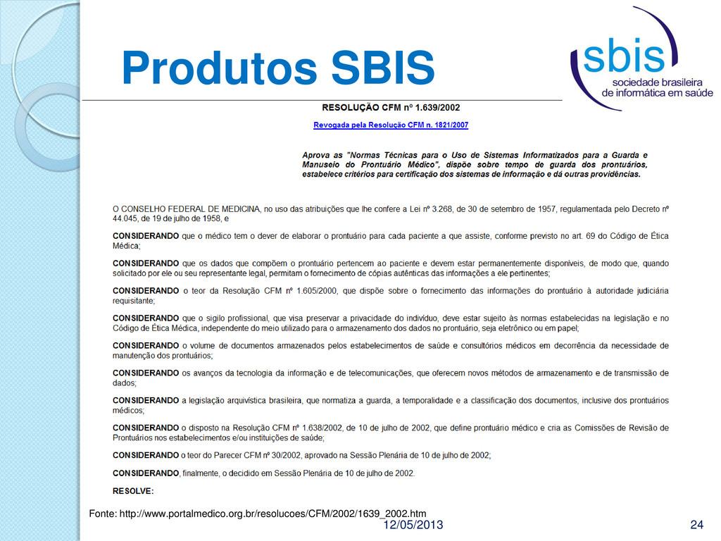 Produtos SBIS 12/05/2013 24 Fonte: http://www.p...