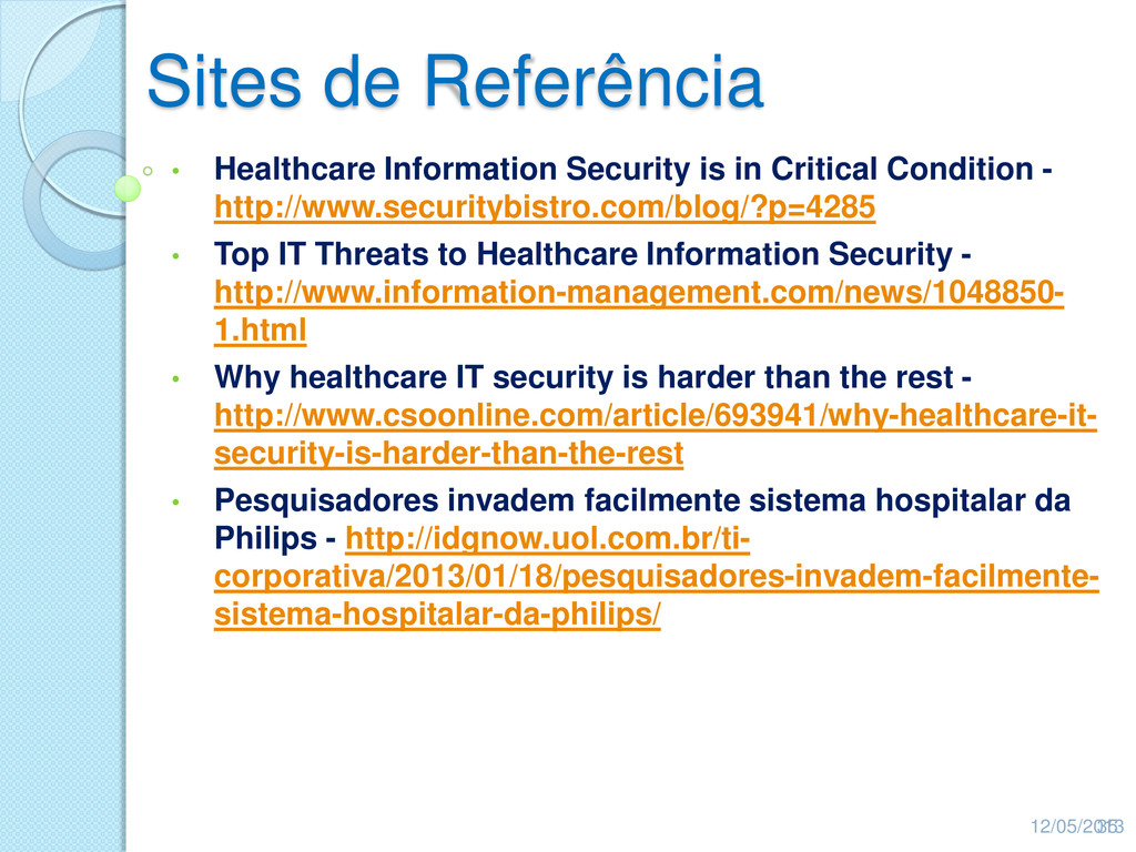 Sites de Referência • Healthcare Information Se...