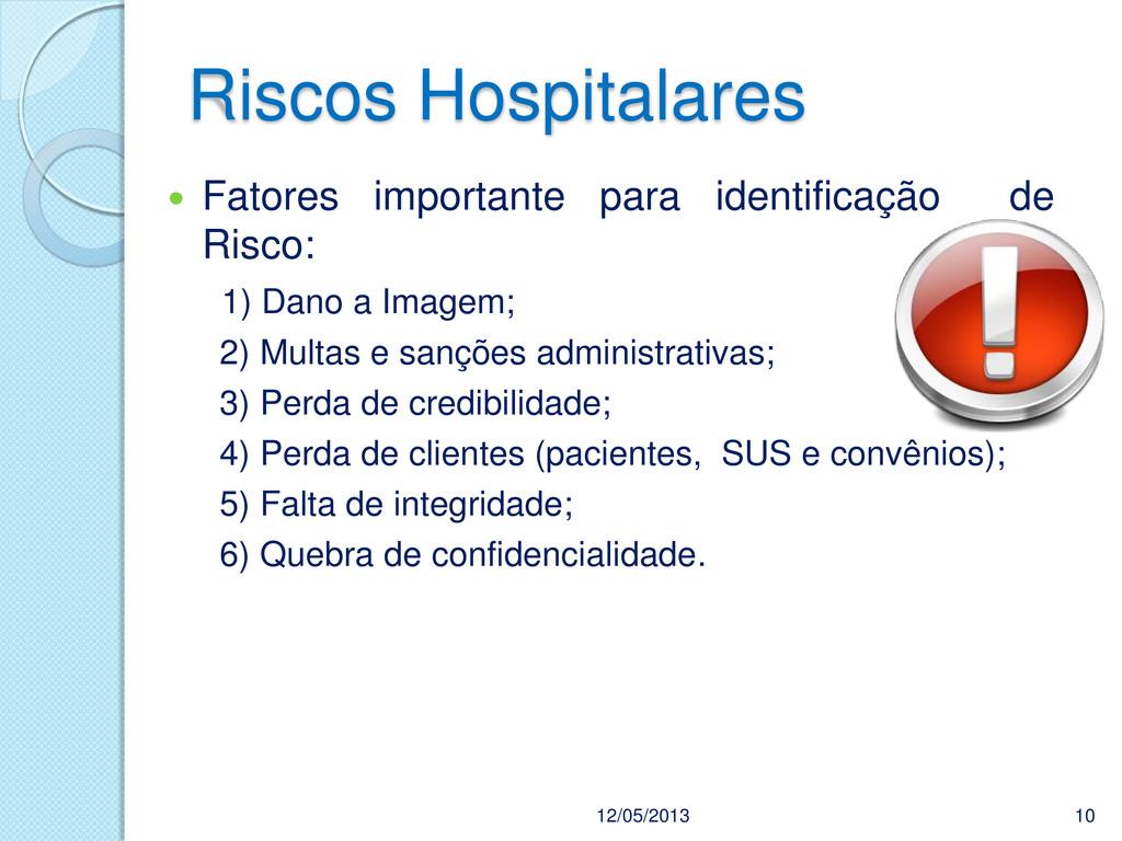 Riscos Hospitalares 12/05/2013 10  Fatores imp...