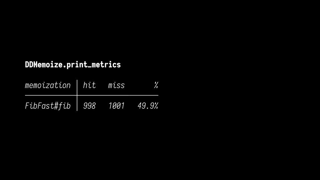 DDMemoize.print_metrics memoization │ hit miss ...