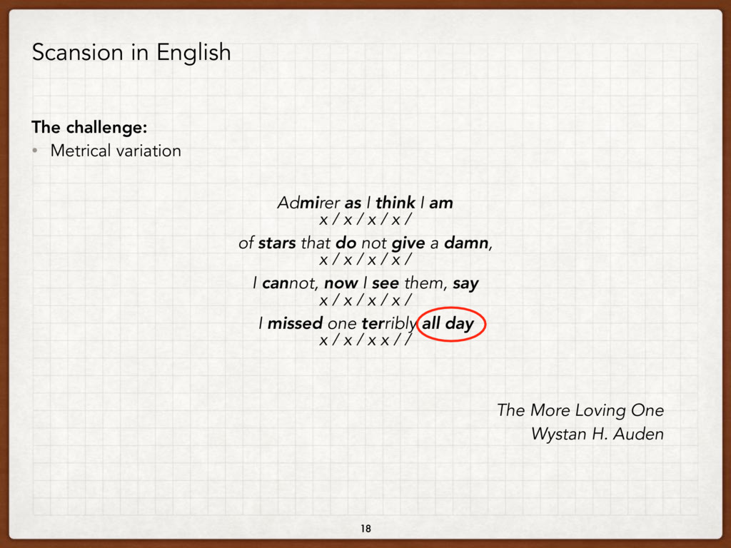 Scansion in English The challenge: • Metrical v...