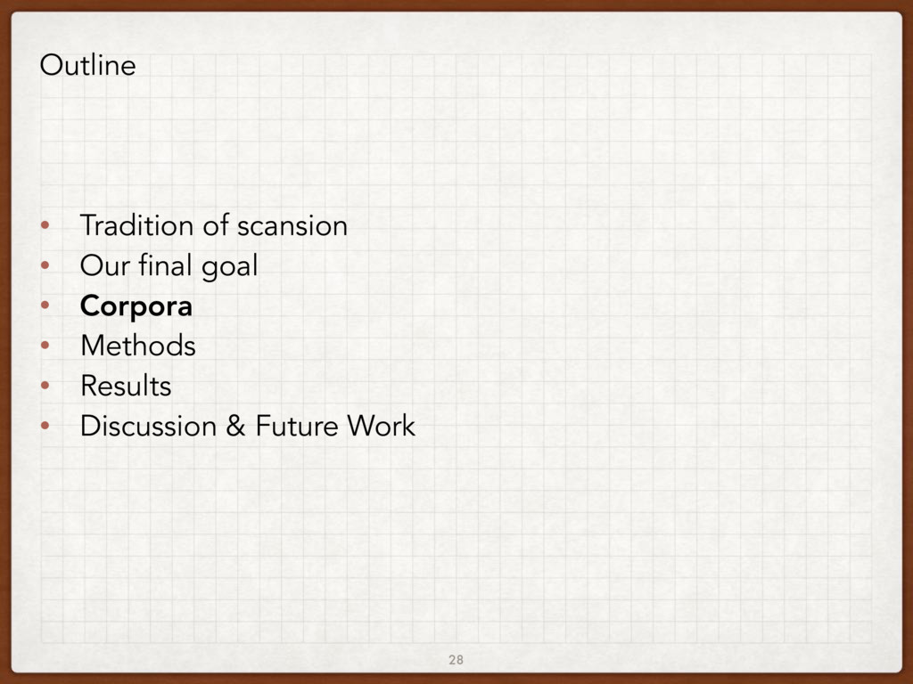 28 Outline • Tradition of scansion • Our final ...