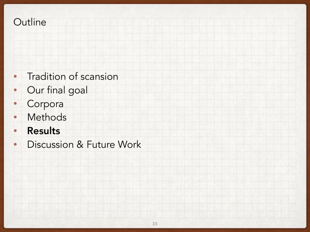 35 Outline • Tradition of scansion • Our final ...