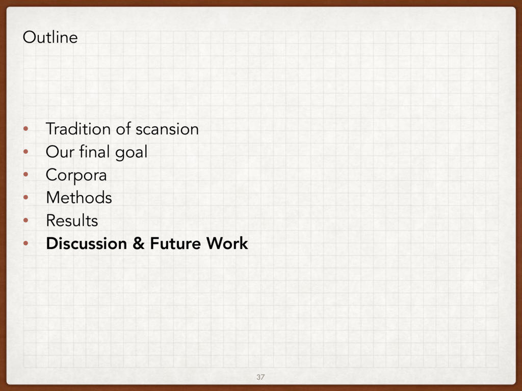37 Outline • Tradition of scansion • Our final ...
