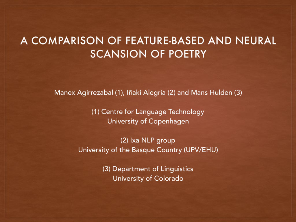 A COMPARISON OF FEATURE-BASED AND NEURAL SCANSI...
