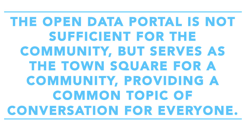THE OPEN DATA PORTAL IS NOT SUFFICIENT FOR THE ...