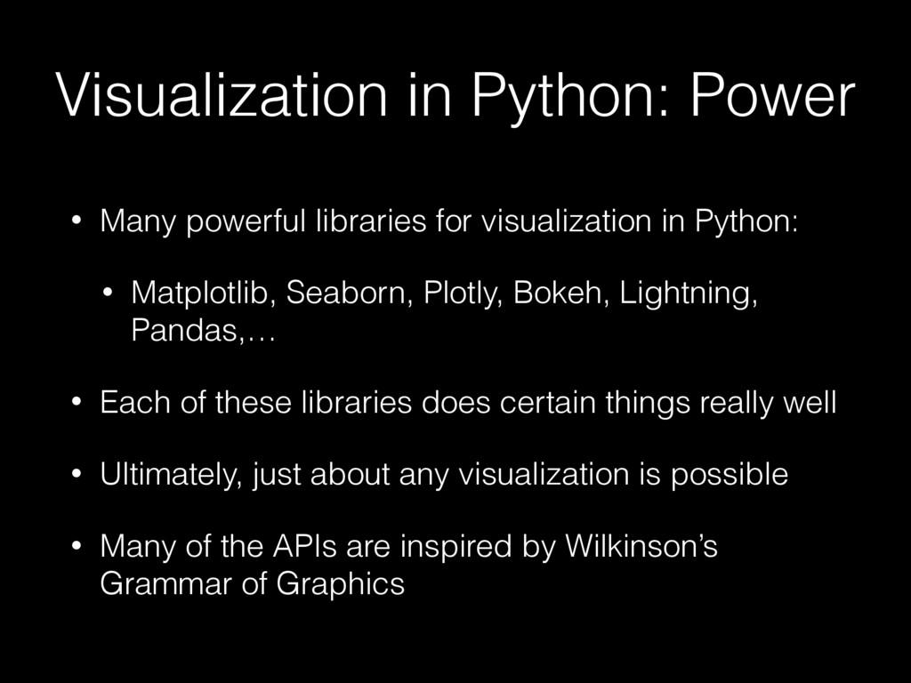 Visualization in Python: Power • Many powerful ...