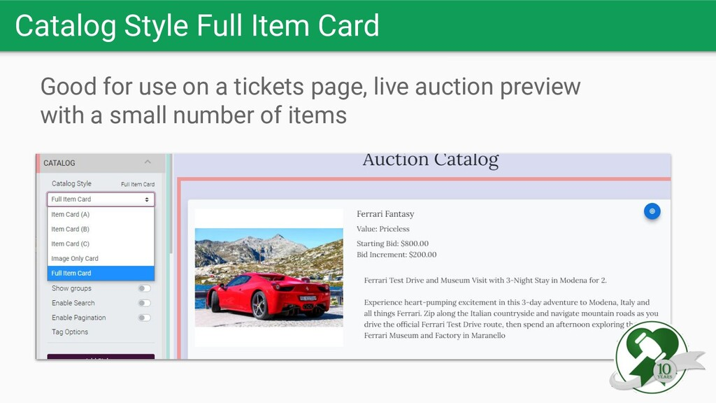 Catalog Style Full Item Card Good for use on a ...