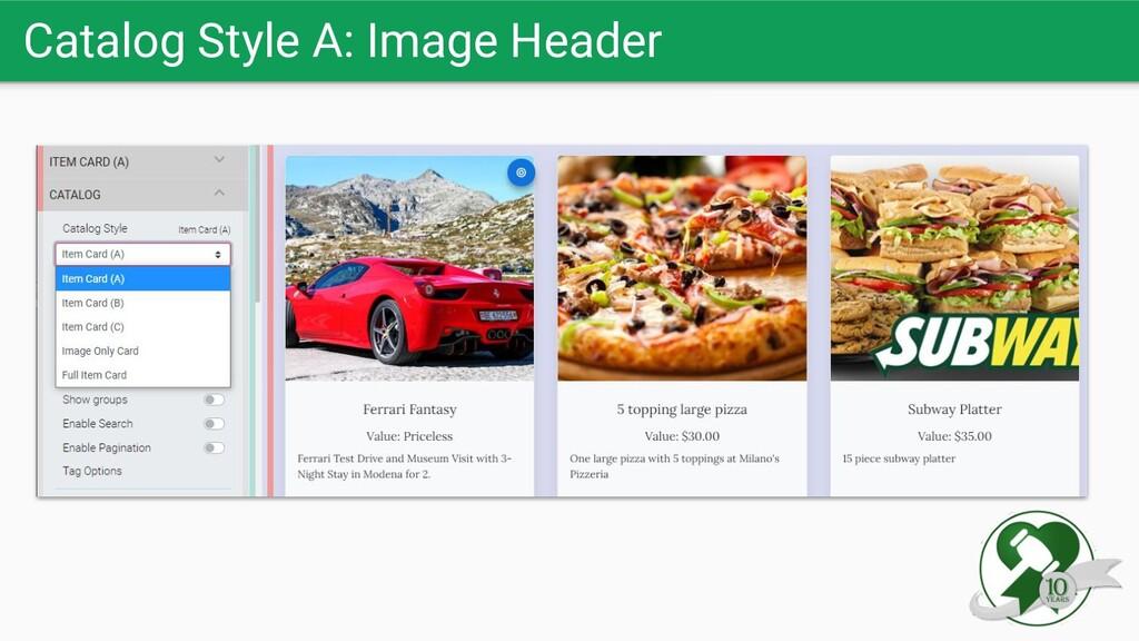 Catalog Style A: Image Header