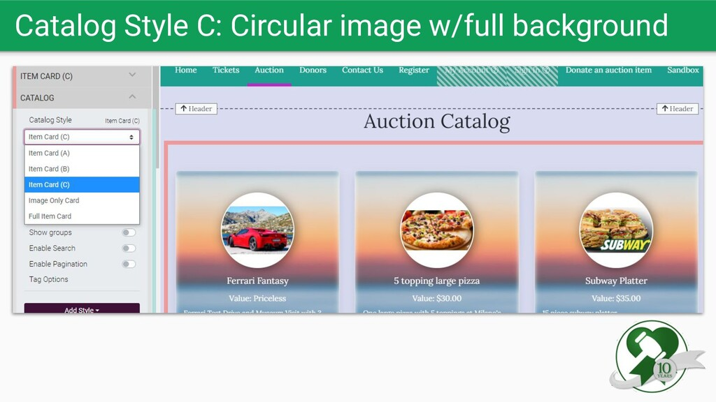 Catalog Style C: Circular image w/full backgrou...
