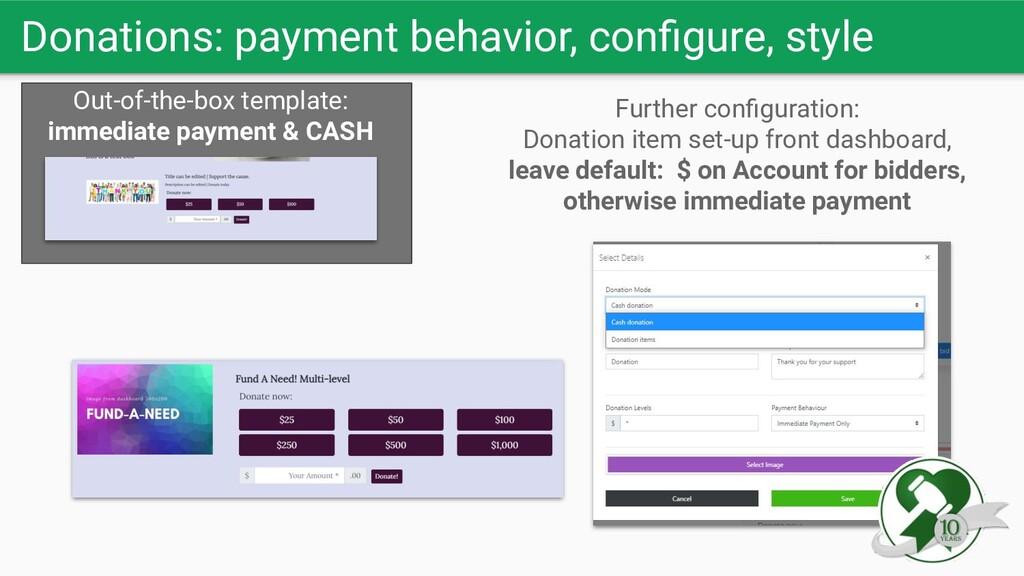 Donations: payment behavior, configure, style Ou...